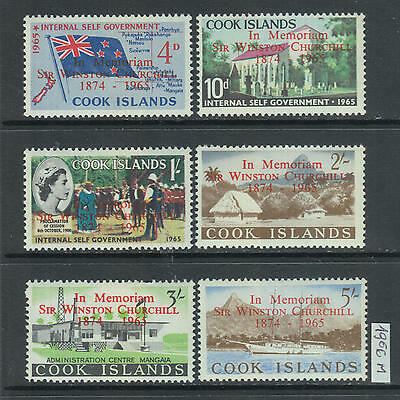 XG-Z878 COOK ISLANDS IND - Churchill, 1966 In Memory, Overprinted MNH Set