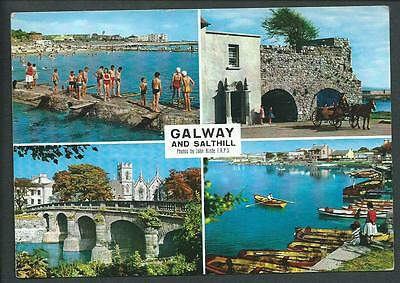"""GALWAY AND SALTHILL"" Multi View Postcard Ireland  Galway"