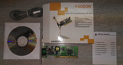 Brand New Sealed 56K PCI Fax Modem AM56HAG with 1.8m BT to RJ11 cable + CD