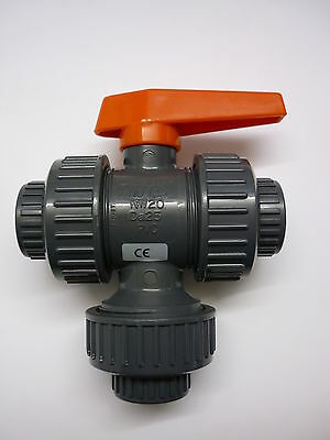 "DURAPIPE Multiport Ball valve 3/4"" plain socket viton PVC - New & Boxed"