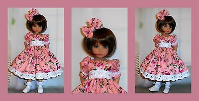 "Handmade dress and hair bow fits Dianna Effner 13"" little darling doll"
