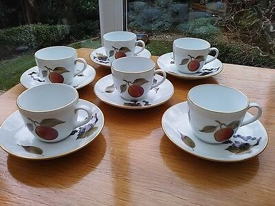 Set Of Six Royal Worcester Coffee Cups And Saucers. Evesham Design