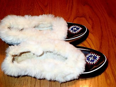 Vintage Black Beaded Native American Moccasins Slippers