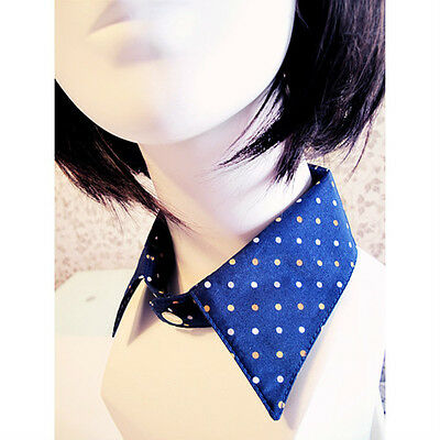 Navy Blue Polka Dot Peter Pan Pointed Detachable Collar for Blouse Dress Women