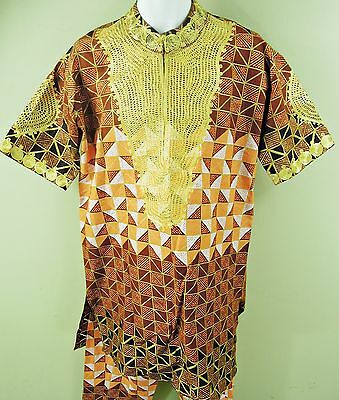 "Handmade Gold Embroidered Printed Tunic & Matching Trousers, 42-44"" Chest, Tr095"