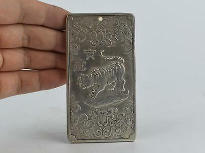 Collectible Decorated Old Tibet Silver Handwork Carved 12 Zodiac&tiger Pendant