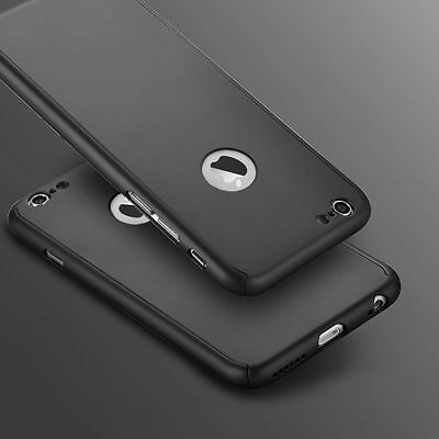 Hybrid 360° Ultra Thin Black Case+Tempered Glass For iPhone 7 Plus [me16