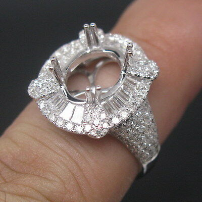 Oval Cut 8x10mm Solid 18Kt White Gold Natural Sparkly Diamond Semi Mount Ring