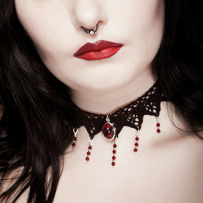 Victorian gothic choker lace RUBY RED necklace goth victorian steampunk
