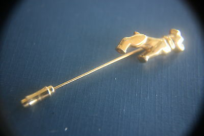 MACK TRUCK COLLECTABLE BULL DOG STICK PIN GOLD PLATED SIZE 2 1/4 in.