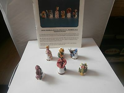 Thimbles 1995 Connoisseur ,s Club  Fairies Of Red Clover Set Of Six Members Only