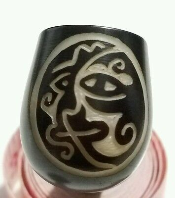 "New Unique Ecuadorian Handmade carved TAGUA Nut PIPES "" Sun and the Moon """