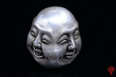 Chinese Silver Buddhism Joss 4 Head Face Happy Laugh Cry Angry Buddha Statue
