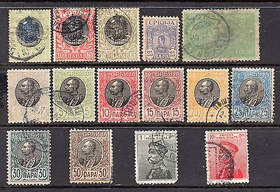 Serbia: Very Nice Selection of 15-Used-1903 to 1911-Issues