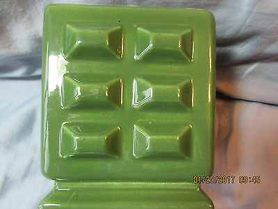Vintage Red Wing Pottery U.S.A. No. 1378 Green /yellow Cube Flower Pottery nos