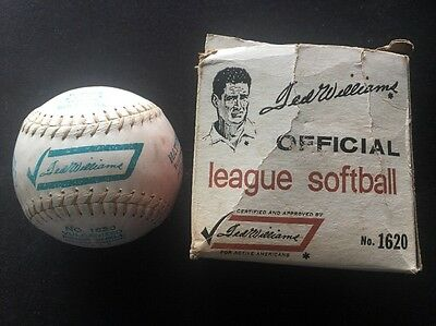 VINTAGE TED WILLIAMS OFFICIAL LEAGUE SOFTBALL No. 1620 SEARS W ORIG. BOX