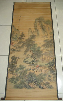"""Old Chinese collection""""shan shuei hua/"""" Painting /& Scroll 唐寅-山水画"""