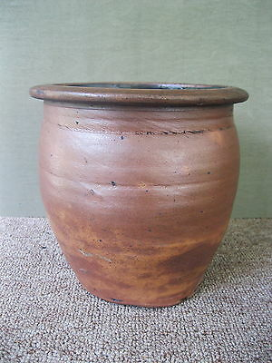 "Antique Stoneware Crock Primitive 1/2 Gallon 7-1/4"" Circa 1890 Brown Salt Glaze"