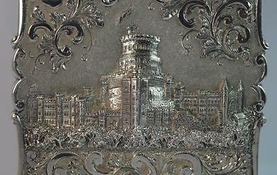 Nathaniel Mills Castle Top Solid Silver Victorian Card Case of Windsor Castle