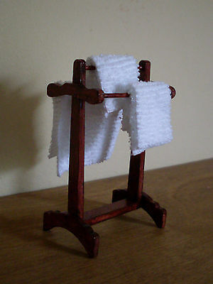 Dollshouse Miniature ~ MAHOGANY ~ Towel Rail