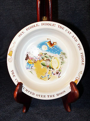 """Rare Collectible VTG Childs Ceramic Bowl """"Hey Diddle Diddle.."""" Avon 1984 6 1/2"""""""