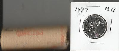 Canada 1987 Roll Of Uncirculated 25 Cent Pieces  Quarters