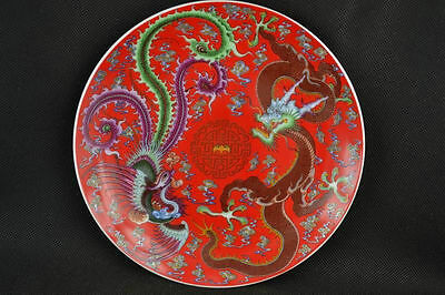 260mm Chinese Blue and Red Porcelain Plate Hand-painted Dragon