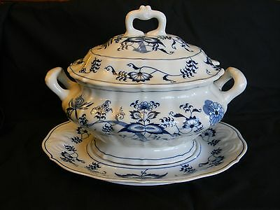 Antique Blue Danube Tureen With Underplate