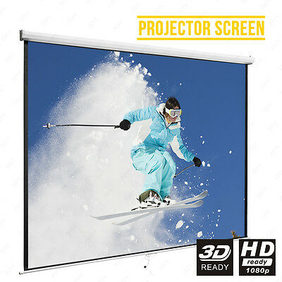 BN 100''16:9 Manual Projector Screen Matte White Pull Down Home Cinema Theater