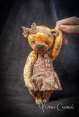 Cute Old Vintage retro jointed artist Teddy Bear OOAK handmade by Yumi Camui
