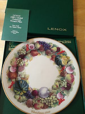 LENOX USA Colonial Christmas Wreath Plate 1989 NEW YORK  9TH IN SERIES with BOX