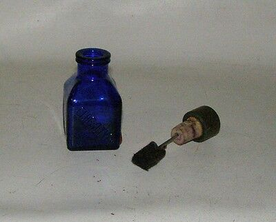 "COBALT BLUE CLAR O TYPE INK  CLEANER vintage 4"" tall, with cork dauber"