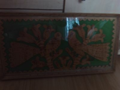 vintage wooden tray hand carved