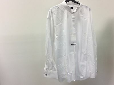 Mens White Wing Plain Wedding Formal Dinner Dress Shirt Size 18 1/2 - 11A334