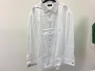 Mens White Standard Pleated Stud Button Formal Dress Shirt Size 19 - 11A338