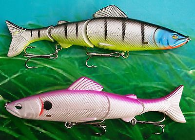 2 X 20g 125mm AMERICAN DOUBLE JOINTED RATTLING FLOATING LURES BASS PIKE FISHING