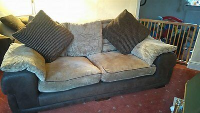 2+3 seater large brown and beige sofas