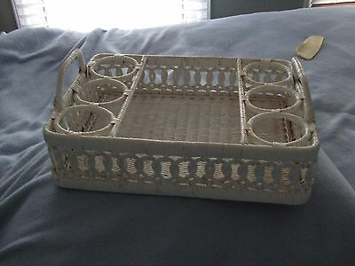Wicker White VIntage Serving Tray