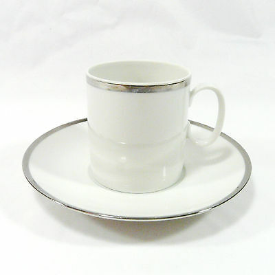 THOMAS china cup and saucer - Medallion Platinum - wide silver band (Lot E)