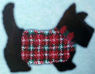"Latch Hook Dog Rug Kit  ""sweatered Scottie Dog Shaped"""