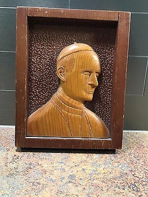 hand carved folk art pope wood carving