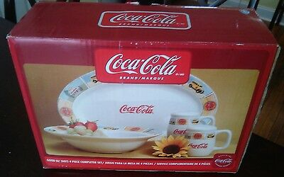 COCA COLA Dinnerware PLATES Dishes Gibson GOOD OL' DAYS 4 PIECE COMPLETER SET
