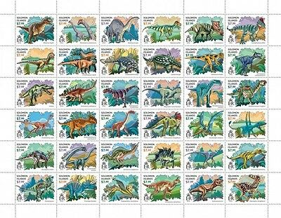 Z08 IMPERFORATED SLM16419a SOLOMON ISLANDS 2016 Dinosaurs Full Sheet MNH ** Post