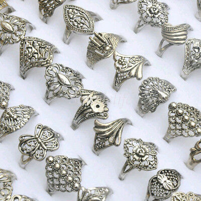 10PCS Vintage Tibet Flower Silver Rings Wholesale Mixed Lots Costume Jewelry