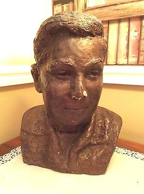 Vintage chalk/plaster bust of young man