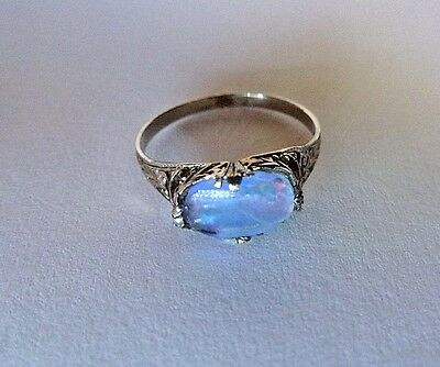 Antique 14K White Gold Filigree Triplet Opal Art Deco Ladies Ring size 5
