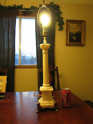 Vintage Stamped Italy Carved Alabaster Marble Stone Column Lamp Works Trilite