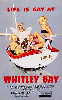 Life is Gay in Whitley Bay 50x70cm Railway Poster NEW