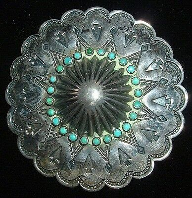 Old, Large, Navajo Ceremonial Brooch, Repousse Center & Turquoise