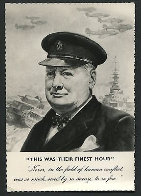 "Sir Winston Churchill ""This was their finest hour "" reproduction postcard VV350"